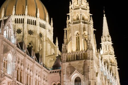 Detail of the Hungarian Parliament building by night in Budapest, Hungary photo