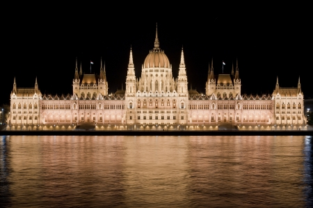 Nighttime view of Hungarian Parliament reflecting in the Danube river in Budapest photo