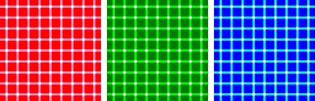 disappear: Dark and white spots seem to appear and disappear at the intersections