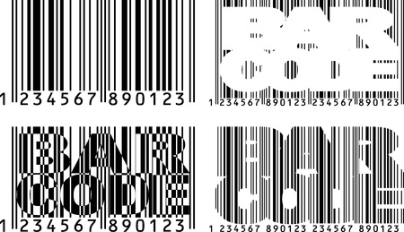 upcode: Black and wihite barcode shapes with text Illustration