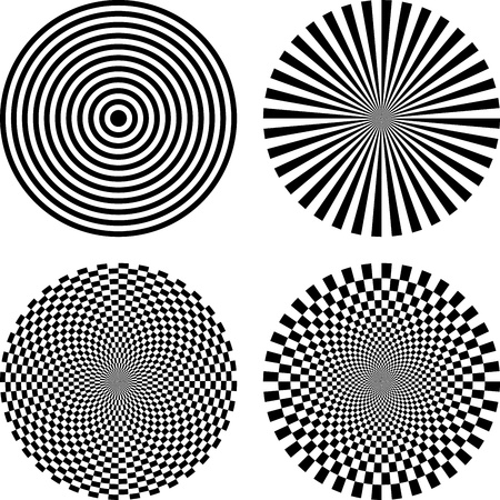 Black and white vector illustration of optical illusion background Vector