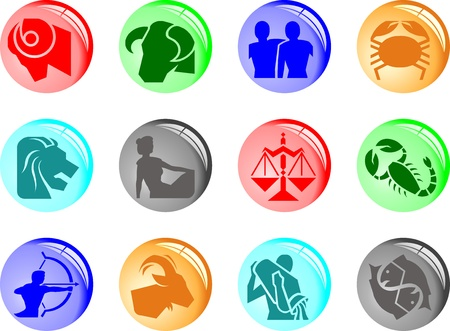 Horoscope symbols in 2D graphic - astrology zodiac illustration Vector