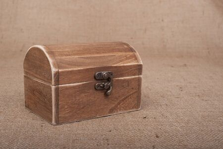 Rustic Wood Box on burlap photo