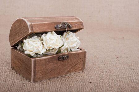 Rustic Wood Box on burlap photo