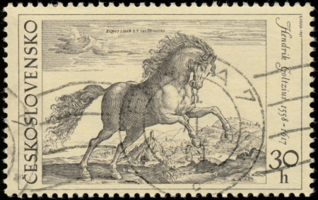 A stamp printed in the Czechoslovakia, shown horse etching
