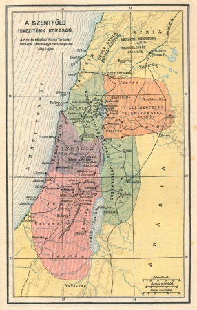Vintage biblical map showing the Holy Land Stock Photo - 18655698