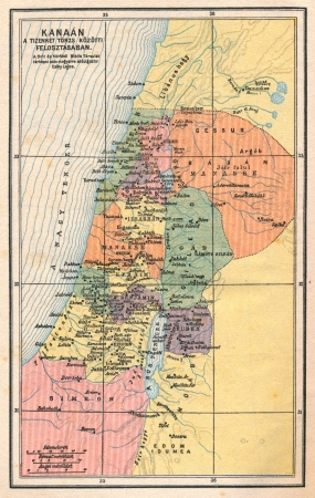 jewish ethnicity: Vintage biblical map showing the Holy Land