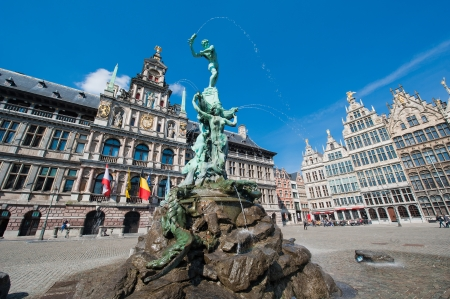 Statue of Silvius Brabo throwing a hand, on the Grand Market in Antwerp, Belgium.