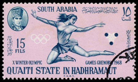 SOUTH ARABIA - CIRCA 1968: A stamp printed in South Arabia in Kathiri state in Hadhramaut shows Olympic Games in Grenoble , circa 1968  Editorial