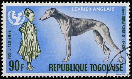 unicef: TOGO - CIRCA 1967: Un timbro stampato dalla Togo, mostra il 20 ° anniversario dell'UNICEF e Greyhound dog - Levrier Anglais, circa 1967