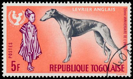 unicef: TOGO - CIRCA 1967: Un timbro stampato dalla Togo, mostra il 20 � anniversario dell'UNICEF e Greyhound dog - Levrier Anglais, circa 1967