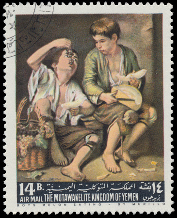 circa: YEMEN - CIRCA 1967  stamp printed by Yemen, shows Boys Melon eating by Murillo, circa 1967  Stock Photo