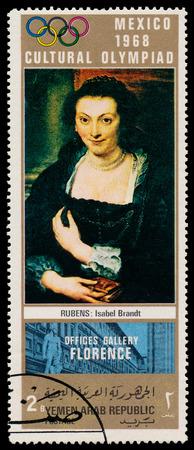 isabel: YEMEN ARAB REPUBLIC - CIRCA 1968  A stamp printed in Yemen Arab Republic shows Isabel Brandt by Rubens, circa 1968
