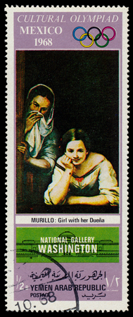 YEMEN ARAB REPUBLIC - CIRCA 1968  A stamp printed in Yemen Arab Republic shows Girl with her nurse by Murillo, circa 1968