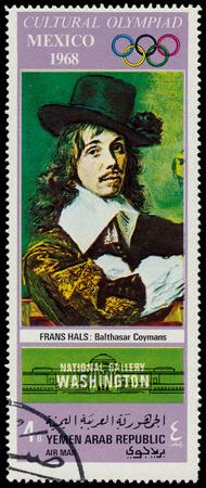frans: YEMEN ARAB REPUBLIC - CIRCA 1968  A stamp printed in Yemen Arab Republic shows Balthasar Coymans by Frans Hals, circa 1968  Editorial
