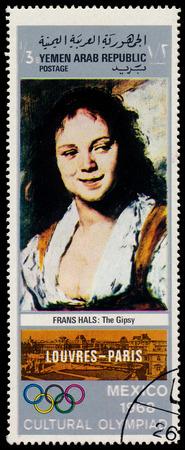 frans: YEMEN ARAB REPUBLIC - CIRCA 1968  A stamp printed in Yemen Arab Republic shows The Gipsy by Frans Hals, circa 1968  Editorial