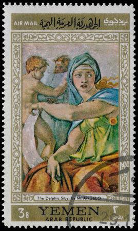 sibyl: YEMEN - CIRCA 1968  stamp printed by Yemen, shows The Delphic Sibyl by Michelangelo, circa 1968