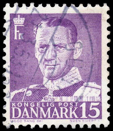 ix: DENMARK - CIRCA 1950: A stamp printed in Denmark, shows portrait of Frederik IX., circa 1950