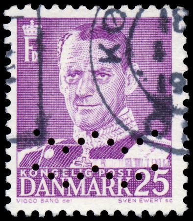 ix: DENMARK - CIRCA 1955: A stamp printed in Denmark, shows portrait of Frederik IX., circa 1955