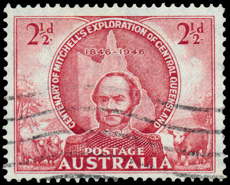 Stamp printed in Australia shows Central Queensland Exploration photo