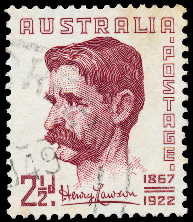 lawson: AUSTRALIA - CIRCA 1949  A stamp printed in Australia shows The 82nd Anniversary of the Birth of Henry Lawson, 1867-1922, circa 1949