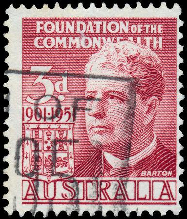 AUSTRALIA - CIRCA 1951  A stamp printed in Australia shows R1st Prime Minister of Australia Sir Edmund Barton, circa 1951  写真素材
