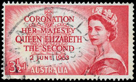 AUSTRALIA - CIRCA 1953  A stamp showing Portrait of Queen Elizabeth 2nd  circa 1953  Stock Photo