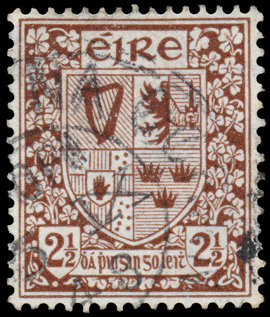 IRELAND - CIRCA 1922  A stamp printed in Ireland shows Coat of Arms of the Four Provinces of Ireland, without the inscription, from the series  Arms of Ireland , circa 1922  photo