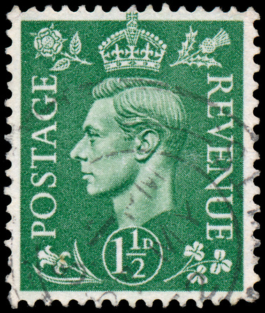 UK - CIRCA 1950  A stamp printed in UK shows image of the George VI  Albert Frederick Arthur George  was King of the United Kingdom and the Dominions of the British Commonwealth, circa 1950   photo