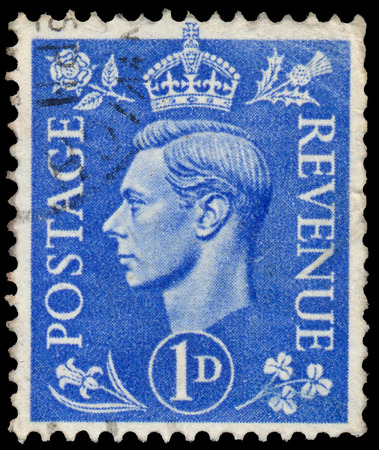UK - CIRCA 1950  A stamp printed in UK shows image of the George VI  Albert Frederick Arthur George  was King of the United Kingdom and the Dominions of the British Commonwealth, circa 1950
