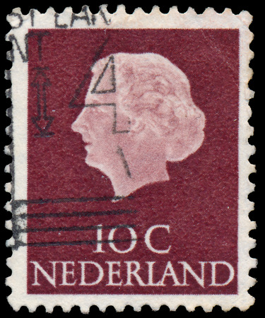 NETHERLANDS - CIRCA 1953  A stamp printed in Netherlands shows portrait of Queen Juliana  1909-2004  was the Queen regnant of the Kingdom of the Netherlands, circa 1953  Editorial