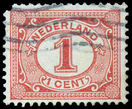 nederlan: NETHERLANDS - CIRCA 1898: Netherlands Stamp Numeral 1 Cent, circa 1898