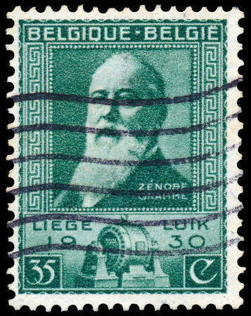 electrical engineer: BELGIUM - CIRCA 1930: A stamp printed in Belgium shows portrait of Zenobe Gramme a Belgian electrical engineer (1826-1901), circa 1930