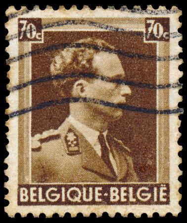 leopold: BELGIUM - CIRCA 1938  A stamp printed in Belgium, shows Leopold III of Belgium, circa 1938  Editorial