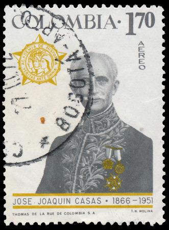 joaquin: COLOMBIA - CIRCA 1967: A stamp printed in Colombia, shows portrait of Jose Joaquin Casas (1866-1951), educator, diplomat, circa 1967