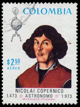 COLOMBIA - CIRCA 1976: Postage stamp printed in Colombia shows the portrait of Copernicus. 500 Anniversary Nacimento De Nikolas Copernico 1473-1973, circa 1973