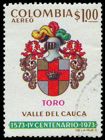 COLOMBIA - CIRCA 1973: A Stamp printed in Colombia showing the armor of the Colombian cavalry, circa 1973 photo