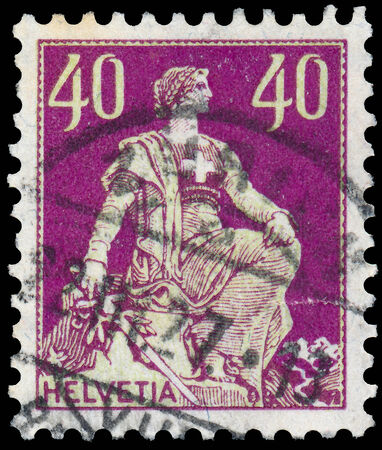 helvetia: SWITZERLAND - CIRCA 1908: stamp printed by Switzerland, shows Helvetia, circa 1908