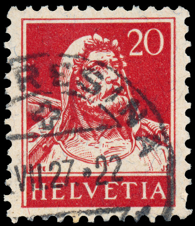 helvetia: SWITZERLAND - CIRCA 1921: A stamp printed in Switzerland, depicts William Tell, circa 1921
