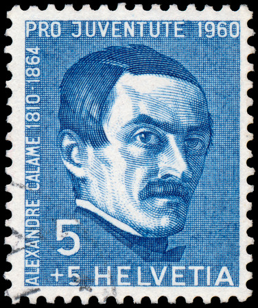 helvetia: SWITZERLAND - CIRCA 1960: a stamp printed in the Switzerland shows Pro Juventute - The 150th Anniversary of the Birth of Alexandre Calame, circa 1960.