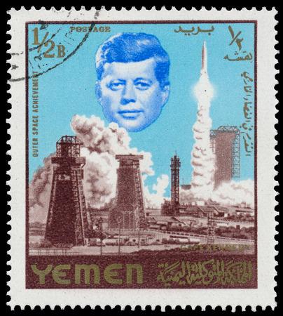 john fitzgerald kennedy: YEMEN-CIRCA 1965: Space Achievements with John Fitzgerald Kennedy on Yemen postage stamp, circa 1965  Stock Photo