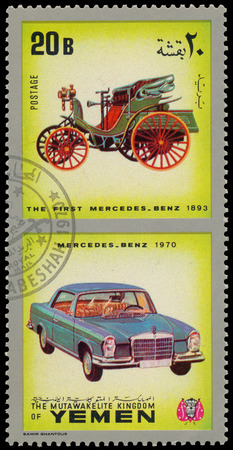 YEMEN - CIRCA 1970: Yemen 3c stamp commemorates first Mercedes Benz of 1893, circa 1970 photo