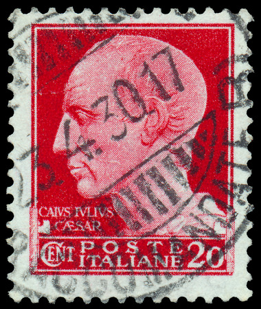 statesman: ITALY - CIRCA 1929: A stamp printed in Italy shows a Portrait of Gaius Julius Caesar (Roman general and statesman), with the same inscription, from the series Julius Caesar, circa 1929