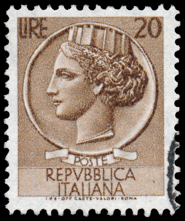 turreted: ITALY - CIRCA 1953: A stamp printed in Italy shows Italia Turrita, series, circa 1953  Editorial