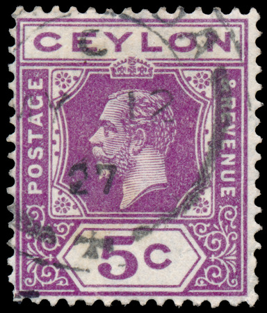 CEYLON - CIRCA 1911: A stamp printed in CEYLON shows image of the George V was King of the United Kingdom and the Dominions of the British Commonwealth, circa 1911.