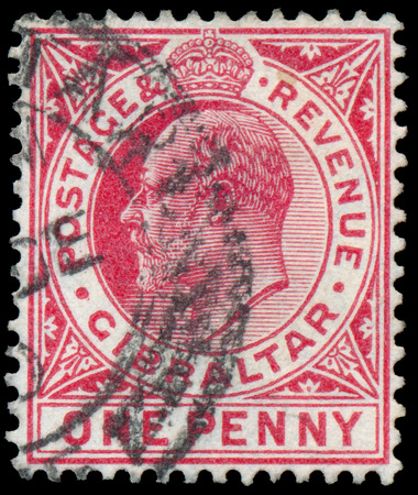 GIBRALTAR - CIRCA 1907: A stamp printed in GIBRALTAR shows image of the George V was King of the United Kingdom and the Dominions of the British Commonwealth, circa 1907.