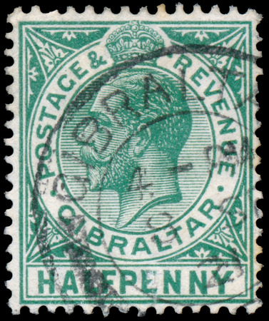 GIBRALTAR - CIRCA 1912: A stamp printed in GIBRALTAR shows image of the George V was King of the United Kingdom and the Dominions of the British Commonwealth, circa 1912. Editorial