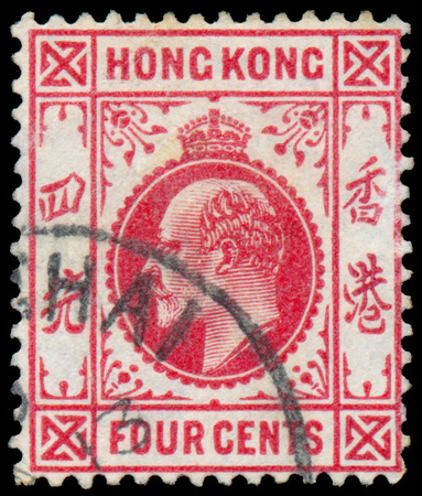HONG KONG - CIRCA 1907: A stamp printed in HONG KONG shows image of the George V was King of the United Kingdom and the Dominions of the British Commonwealth, circa 1907. Editorial