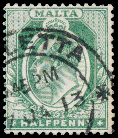 MALTA - CIRCA 1903: A stamp printed in MALTA shows image of the George V was King of the United Kingdom and the Dominions of the British Commonwealth, circa 1903. Editorial