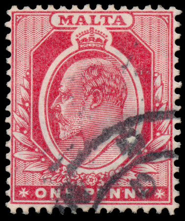 MALTA - CIRCA 1907: A stamp printed in MALTA shows image of the George V was King of the United Kingdom and the Dominions of the British Commonwealth, circa 1907.